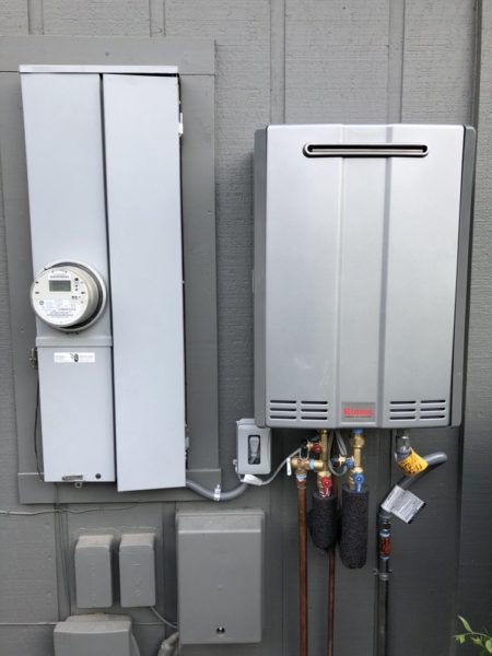 new Rinnai tankless water heater installed by plumber in Pleasant Hill, California